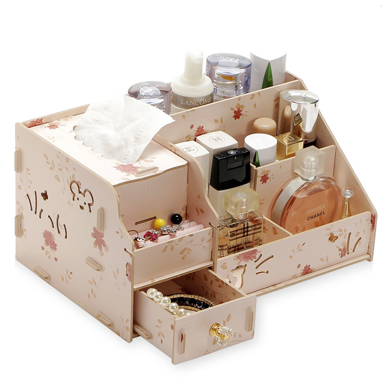 DIY Wooden Jewelry Container Cosmetic Storage Makeup ...