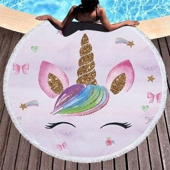 Cartoon Unicorn 150cm Round Beach Towel Wall Tapestry Picnic Blanket Portable Outdoor Sport Storage Bag Bundle Pocket Kids Gift 13