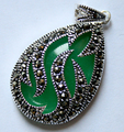 Natural Green Jade  Inlay Marcasite 925 Sterling Silver Lady's Pendant 30x20mm