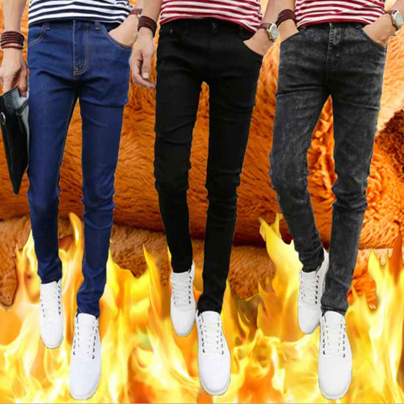 New Warm Jeans Men Jeans Homme 2017 Winter Fashion Washed Elasticity Fleece Mens Skinny Jeans Casual Preppy Style Denim Jeans sulee brand new fashion men jeans slim denim overalls skinny winter jeans homme mens warm print stretch casual plus size 44 46
