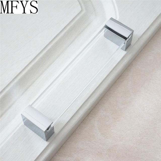 glass kitchen door handles lighting ideas for 6 3 cabinet dresser drawer pull silver chrome pulls furniture handle modern clear hardware