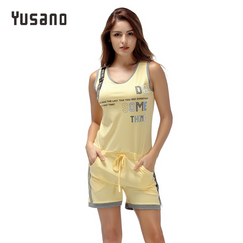 Women's   Pajama     Set   Sleepwear Cotton Sleepwear Sleeveless Summer Nightwear for Women Letter Print Pyjama   Sets   Pijama Female