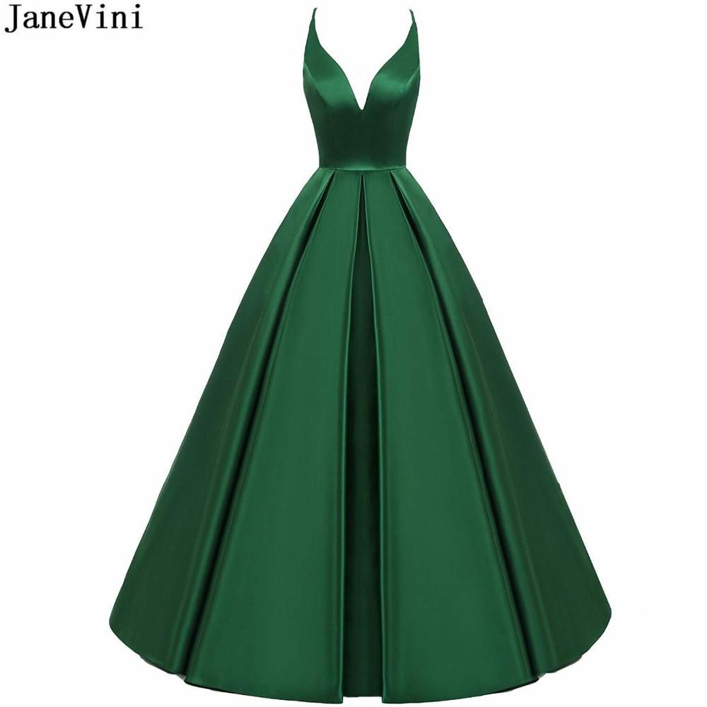JaneVini 2019 Elegant Emerald Green Ball Gown Long Bridesmaid Dresses Sexy Deep V Neck Backless Satin Dress Vestido Longo Verde