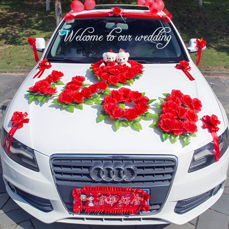 Korean Wedding Flowers: LOVE Creative Korean Wedding Car Decoration Artificial