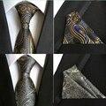 (1 шт./лот) 100% Шелк мода 2016 полиэстер рулевой жаккарда сплетенные мужские галстуки и платок наборы галстук карманный площадь набор