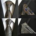 (1 unids/lote) 100% de la manera de Seda 2016 poliéster tie jacquard woven para hombre corbatas y conjuntos de corbata pañuelo de bolsillo cuadrado conjunto