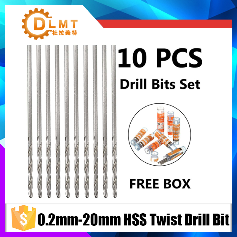 10pcs/set 0.2-2mm HSS Twist Drill Bit Micro Wear Resistance Straight Shank Twist HSS High Speed Steel Metric Drill Bit