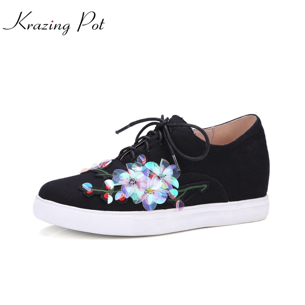 Krazing Pot flowers superstar lace up round toe high quality original design platform causal women sneaker vulcanized shoes L-1 adidas superstar shell toe fashion sneaker