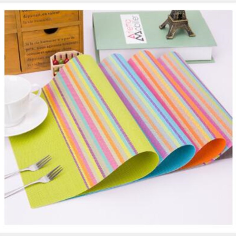 1PC Rainbow Table Mat for Home Decoration Mats of PVC Kitchen Accessories 4 Optional Colors Grey PVC Placemat on Sale