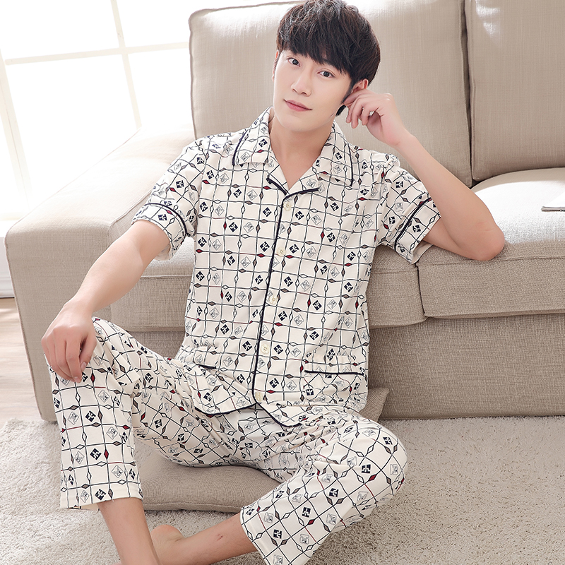 Men's Pajamas Summer Short Sleeve Sleepwear Cotton Geometric Cardigan Pyjamas Men Lounge Pajama Sets Plus Size M-4XL Sleep