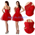 Red Elegant Cocktail Dresses 2017 Sexy Cocktail Dress Crystal Ball Gown robe dentelle cocktail One Shoulder Cocktail Dresses