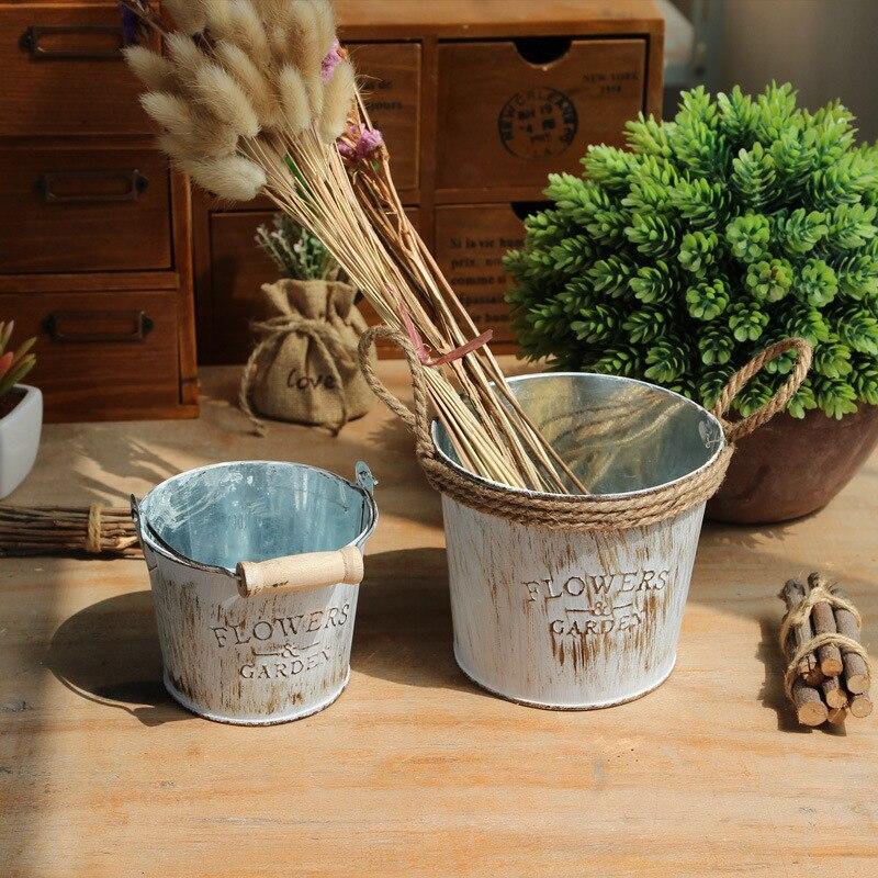 Retro Iron Flower Bucket Pot with Jute Handmade Hemp Rope  Planter Holder Vintage Balcony Desk   Home Decoration