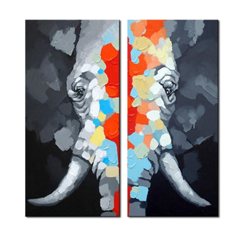 Buntes Elefantentierölgemälde 100% handgemaltes - Wohnkultur - Foto 2