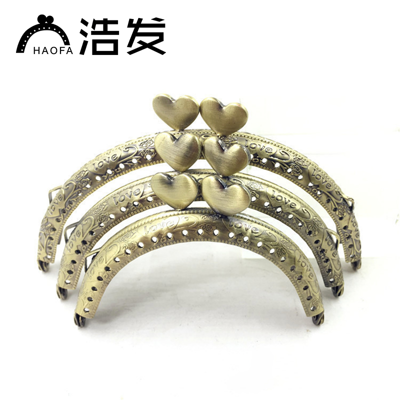 HAOFA 10pcs 8.5cm 10.5cm 12.5cm Metal Purse Frame Antique Bronze Heart Kiss Clasp Handle For Clutch Accessories For Bags
