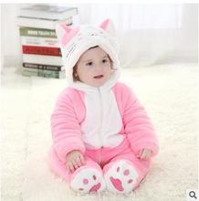 Зимой 2016 года, новый цвет кошка моделирование фланель теплые ребенка комбинезон детская одежда