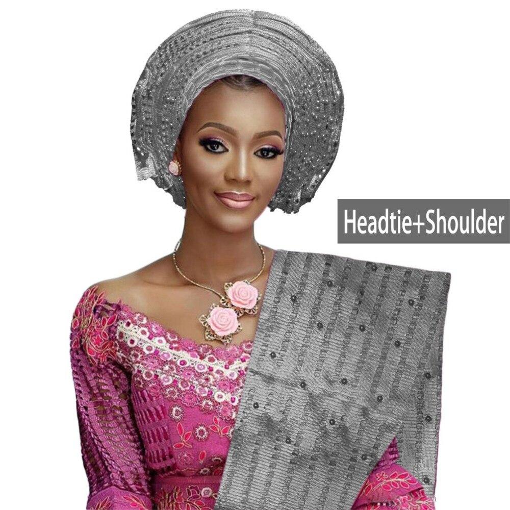 Nizza Nigeriano gele headtie aso oke in rilievo auto gele festa di nozze Africano headwrap con spalla B317-in Tessuto da Casa e giardino su  Gruppo 1