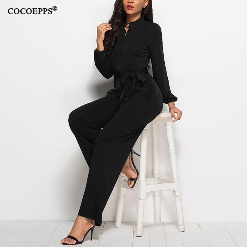 S-3XL 2018 Plus Size Women Jumpsuit Autumn Winter Long Sleeve Jumpsuits Rompers Solid Elegant Office lady Large size Jumpsuits 2
