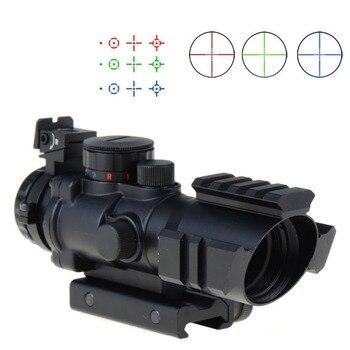 With 20mm rail for 4X32 RGB Prismatic Rifle Scope with Fiber Optic Sight Tri-illuminated