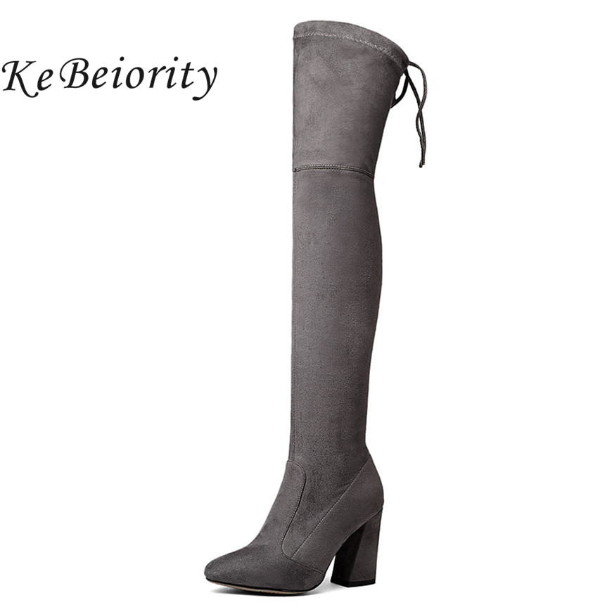KEBEIORITY Sexy Long Boots Women Faux Suede Slim Boots Western Style High Heels Stretch Over the Knee Boots Female Shoes 2017