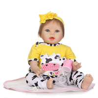 New Arrival Baby Girl Reborn Dolls Kids Toy soft Silicone Vinyl 22'' 55 cm NPK Real Life Bebe realistic Reborn bonecas