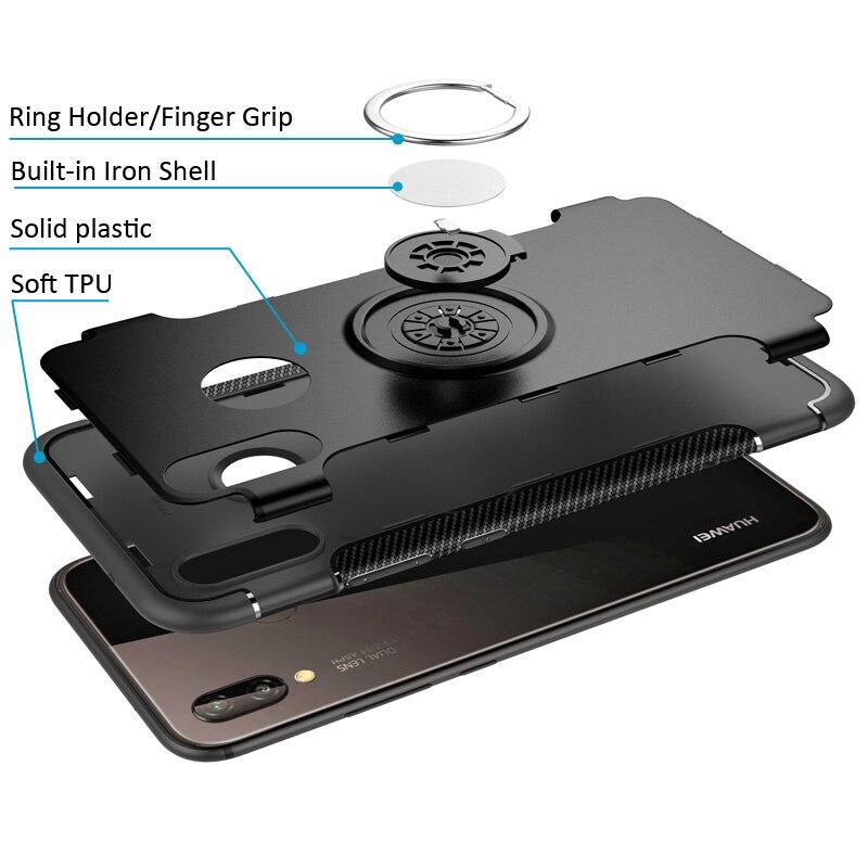 Кольцо держатель чехол для Huawei P20 Pro Lite палец сцепление Магнитная крышка всасывания поглощают на автомобильный держатель кронштейн Nova 3e