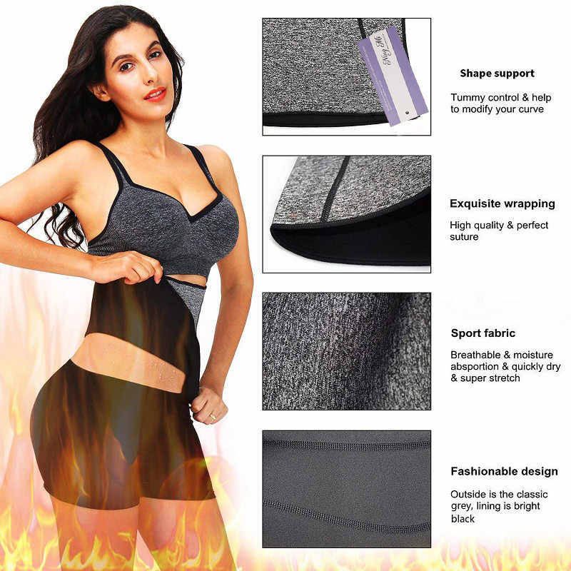 7f0d7136bd876 ... NINGMI Neoprene Short Pant + Waist Belt Tracksuit Body Shaper Set Women  Fitness Hot SPA Sweat ...