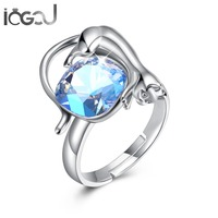 IOGOU 925 Sterling Silver Crystals From Swarovski Blue Solitaire Animal Cat Rings Ladie's Anniversary Birthday Party Wholesales
