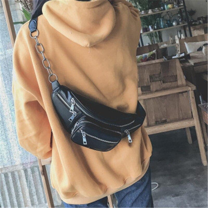 Puimentiua 2019 Waist Bag Women Waist  Packs Belt Bag Luxury Leather Chest Handbag Black Color New Fashion  Quality