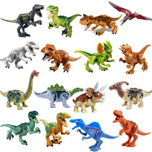 Jurajski dinozaur świat klocki seria Velociraptor t-rex Triceratops montuje figurki cegły zabawki