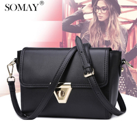 Somay European and America Style Cow Genuine Leather Shoulder bag for women Simple Solid color lady flap bags