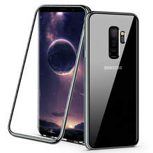 Magnetic Adsorption Phone Case Tempered Glass Back Cover Metal Flip Cases For Samsung Galaxy S8 S9 Plus S7 Note 8(China)