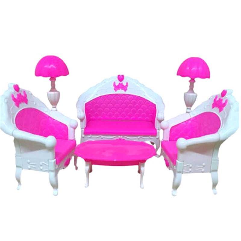 البلاستيك بيت الدمية أريكة الجدول مصباح مجموعات أثاث ل أريكة كرسي متأرجح ل Baviphat اكسسوارات ألعاب الأطفال زخرفة الأثاث