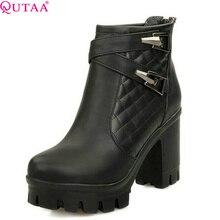QUTAA 2017 Fashion Women High Heel Martin Winter Shoes Platform Ankle Boots For Women Winter Snow Wedding Shoe Size 34-43