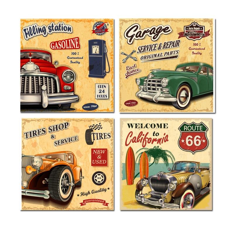 4PCS Classic Cool Cars Cuadros Wall Sticker Modern Canvas Oil ...
