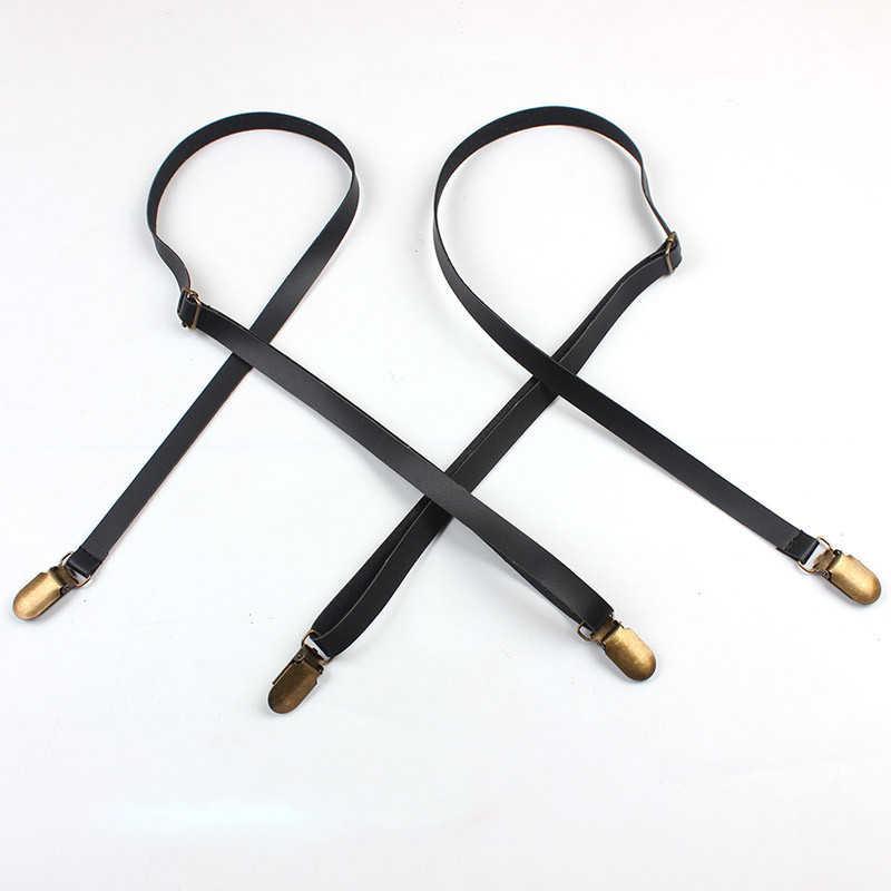 Черные женские подтяжки хорошего качества, ширина 1,2 см, 4 зажима, без креста, унисекс, кожаные подтяжки для мужчин