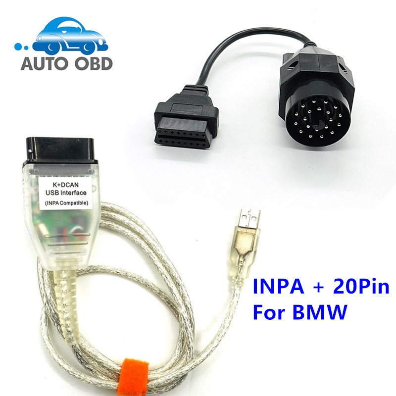 Prix pour Pour BMW INPA K + CAN Plus 20pin 16pin OBD2 Adaptateur K DCAN INPA Avec FT232RL Puce K DCAN USB Interface Connecteur pour BMW 20Pin