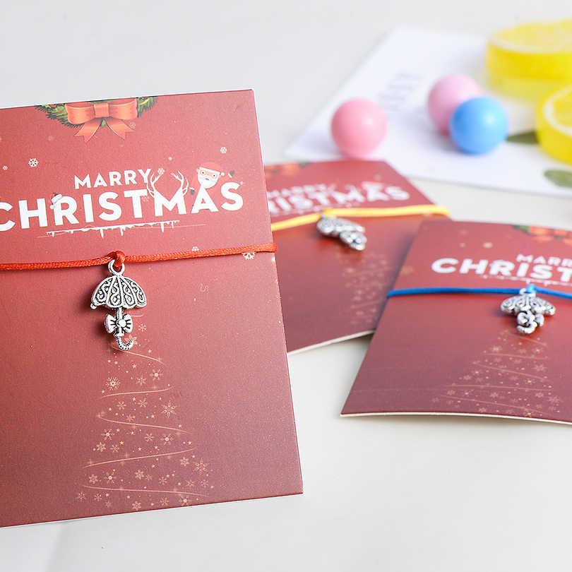 Pipitree Selamat Natal Kartu Ikatan Simpul Payung Pesona Gelang Wanita Anak Lucky Wish Gelang Hadiah Tali Merah Perhiasan Adjustable