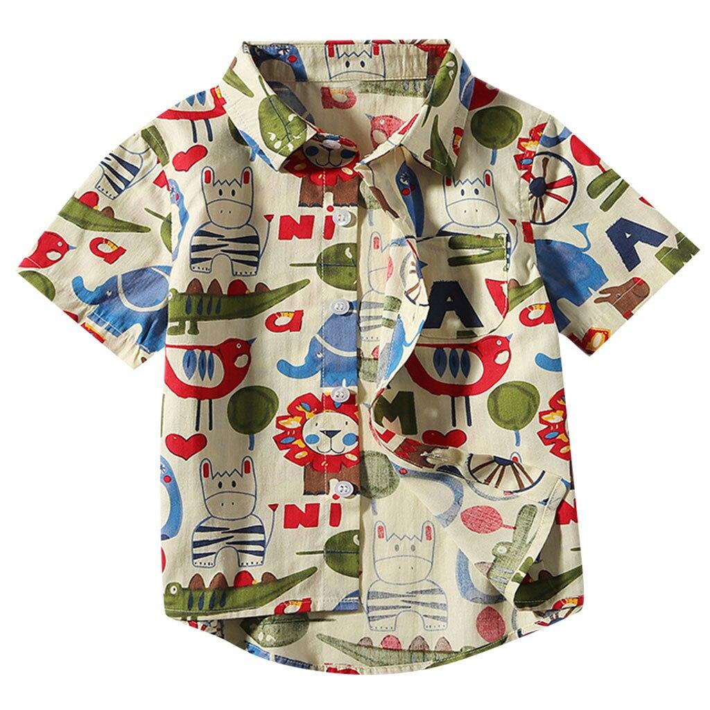 Tshirt Short-Sleeve Baby-Boys Collar Print Cartoon Summer Turn-Down