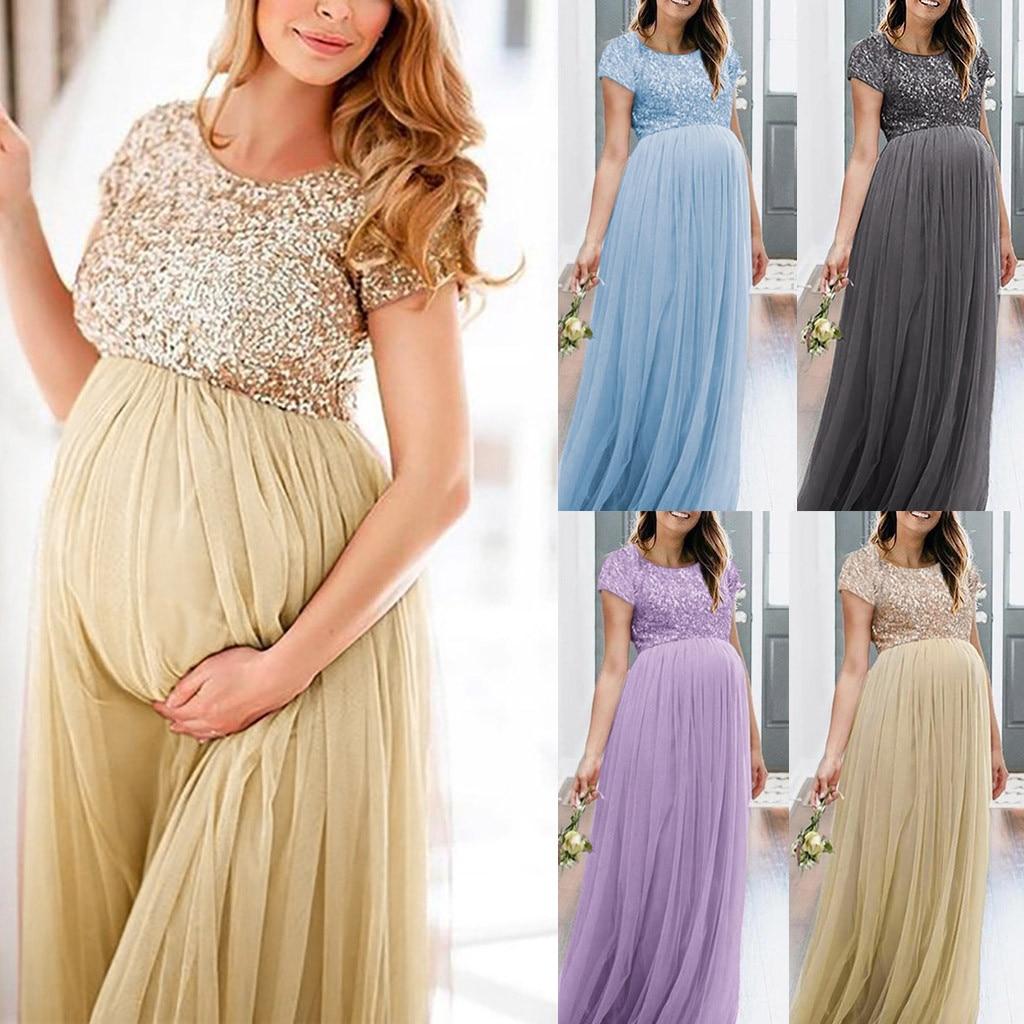 Maternity Long Dresses Women O-Neck Short Sleeve Fancy Popular Maxi Gown Dress Pregnancy Dress Photography Premama Summer Dress