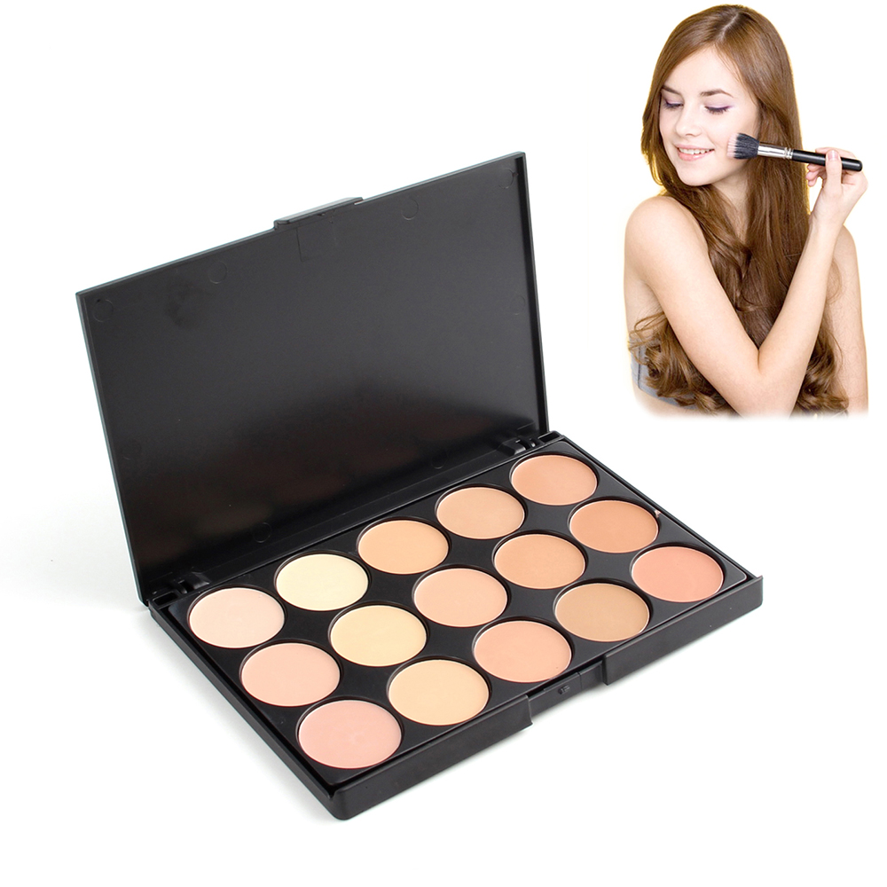 New Professional 15 Color Foundation Make-up Concealers Palette With Brush Makeup Concealer Camouflage Cream Eye Face Cosmetic saiantth makeup tool set kit combination 15 color concealer palette toothbrush makeup brush water drops sponge puff cosmetic