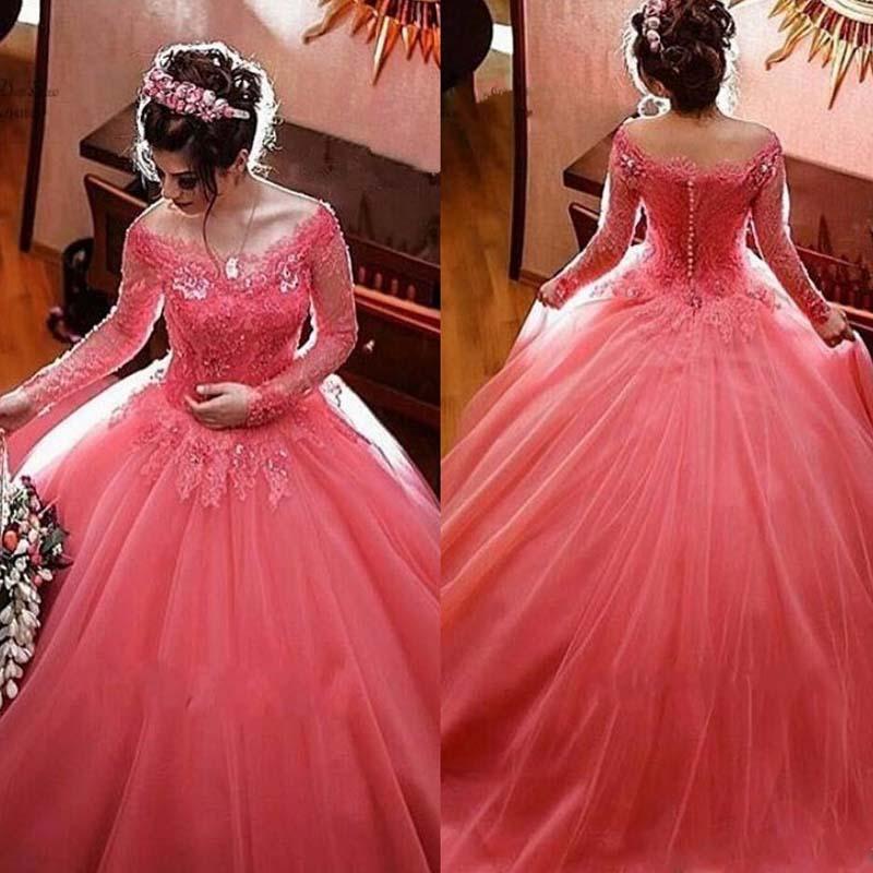 Buy elegant colorful 2017 off shoulder for Cheap long sleeved wedding dresses