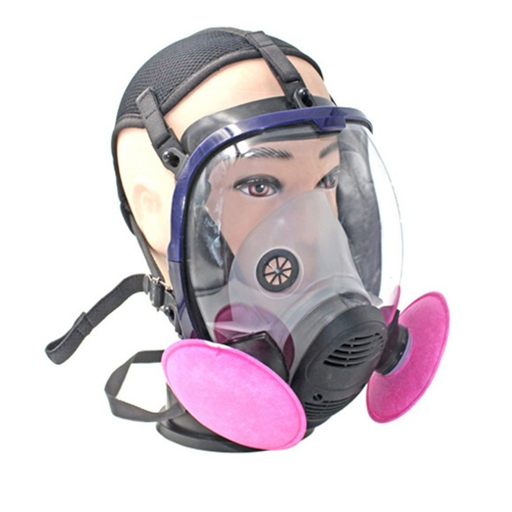 Full Face Respirator Gas Mask Anti-dust Chemical Safety Mask with Cotton Filter for Industry Painting Spraying 9 in 1 suit gas mask half face respirator painting spraying for 3 m 7502 n95 6001cn dust gas mask respirator