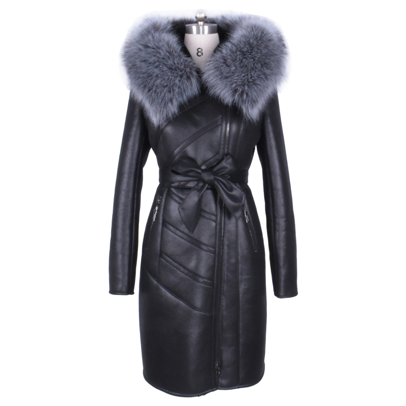 Custom Factory wholesale fashion fox fur Artificial collar and long sections winter Warm new women fur coat Faux hooded Russia