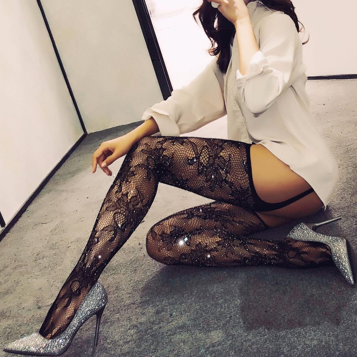 Tights With Rhinestone Sexy Women Stockings Fishnet Pantyhose Shiny Stockings Diamond Crystal Tights Carnival Hosiery