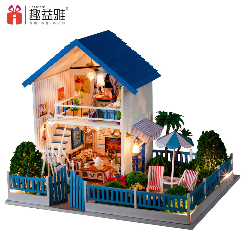 iiE CREATE DIY Miniature Doll House Puzzle Building Blocks Creative Wooden Furniture Doll Assemble Kits Gift Toys Star Houses d030 diy mini villa model large wooden doll house miniature furniture 3d wooden puzzle building model