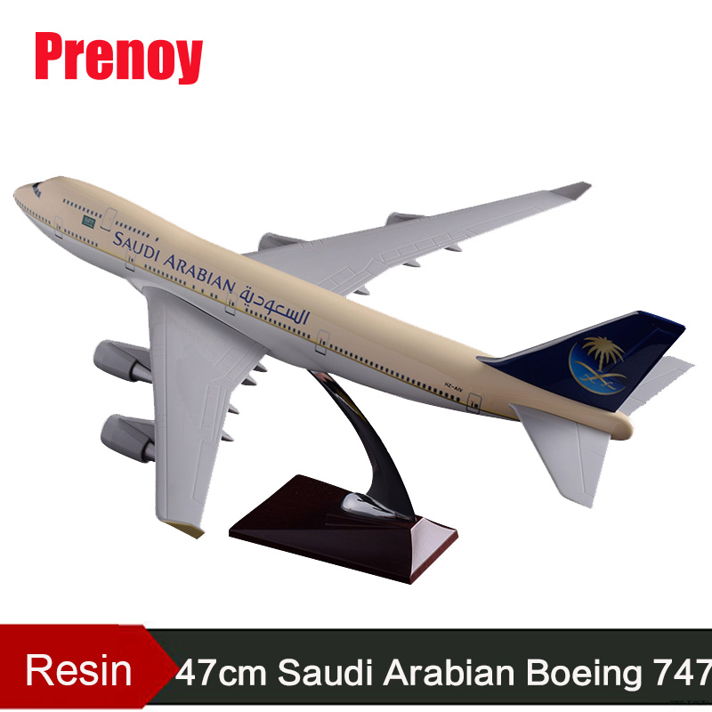 47cm B747-400 Saudi Arabian Airways Plane Model Resin Saudi Arabia Boeing 747-400 Airplane Airbus Model Aviation Creative Gift aeroclassics a330 200 vh eba 1 400 jetstar commercial jetliners plane model hobby