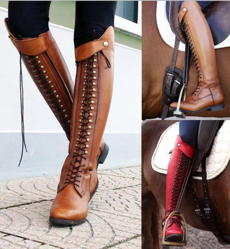 Frauen knie hohe motorrad stiefel lace up Matin schuhe frau damen chaussure heels gladiator zapatos mujer sapato booties TA0080