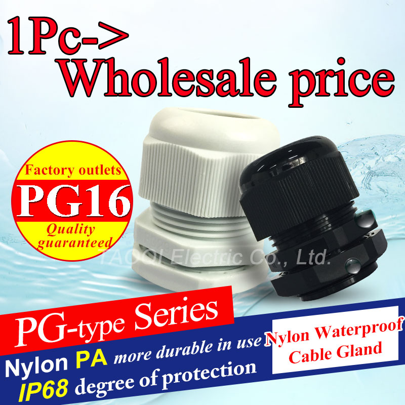 1piece PG16 IP68 Cable Gland Waterproof Nylon Plastic Connector for 10-14mm High quality