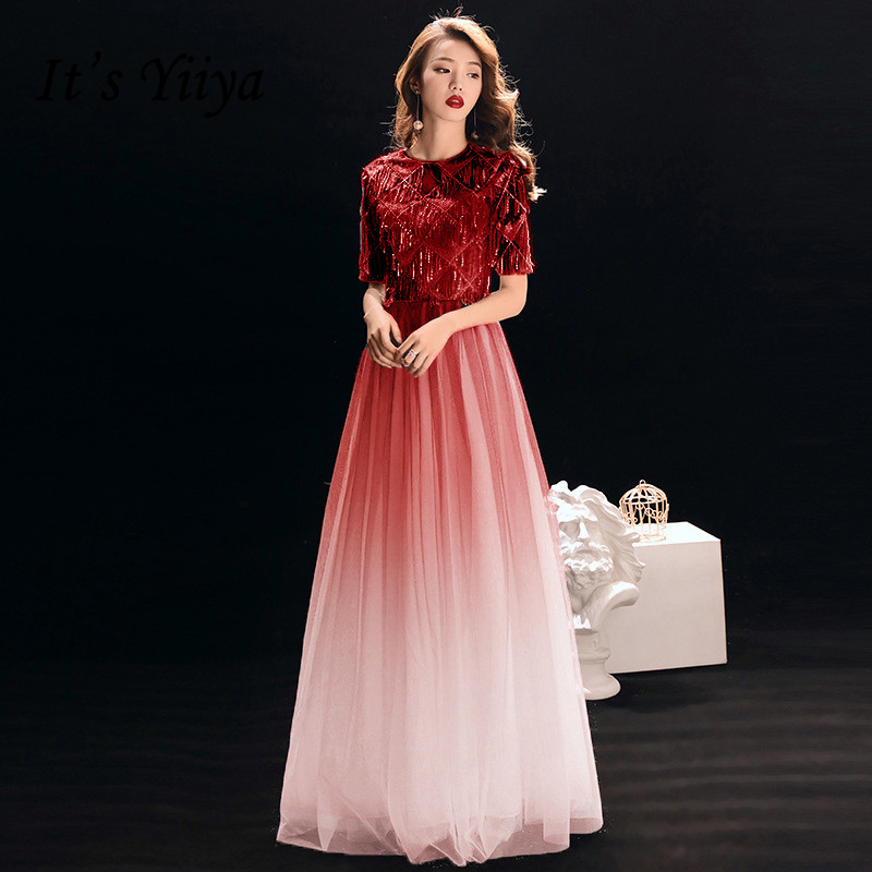 It's YiiYa   Evening     Dress   Wine Red Gradient Color O-neck Short Sleeve Long Formal Gown Little Tassel Zipper Party   Dresses   E005