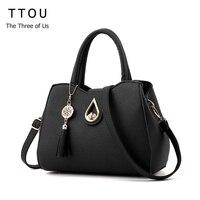 TTOU 2017 New Fashion Women Handbag Tassel High Quality PU Leather Totes Bags Brief Women Shoulder